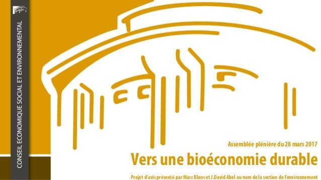 Vers une bioéconomie durable Assemblée plénière du 28 mars 2017 Projet d'avis présenté par Marc Blanc et J.David Abel au n...