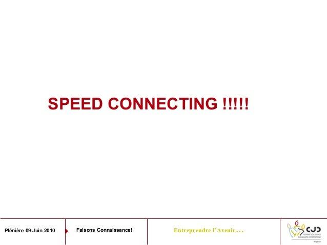 Entreprendre l'Avenir…Plénière 09 Juin 2010 Faisons Connaissance!SPEED CONNECTING !!!!!