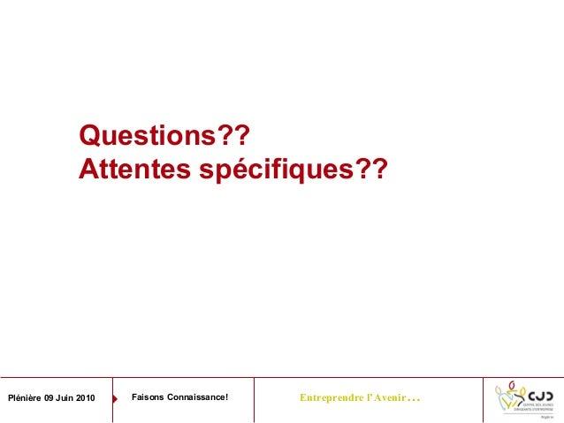 Entreprendre l'Avenir…Plénière 09 Juin 2010 Faisons Connaissance!Questions??Attentes spécifiques??