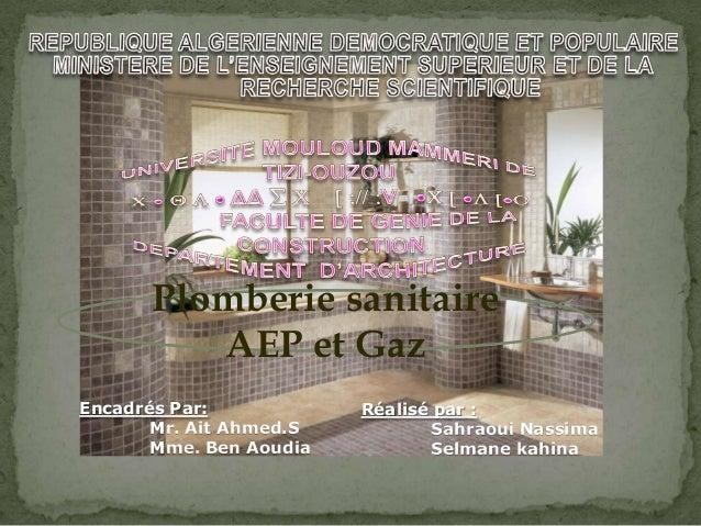 Plomberie sanitaire AEP et Gaz Encadrés Par: Mr. Ait Ahmed.S Mme. Ben Aoudia Réalisé par : Sahraoui Nassima Selmane kahina