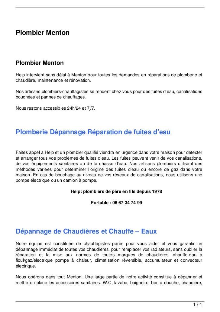 Plombier MentonPlombier MentonHelp intervient sans délai à Menton pour toutes les demandes en réparations de plomberie etc...