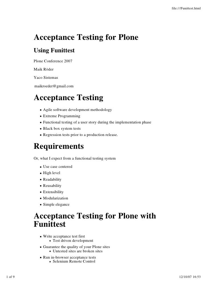 file:///Funittest.html              Acceptance Testing for Plone          Using Funittest          Plone Conference 2007  ...