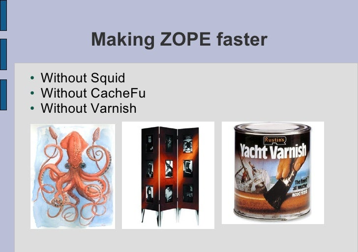 Making ZOPE faster ●   Without Squid ●   Without CacheFu ●   Without Varnish