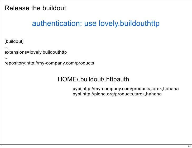 Release the buildout              authentication: use lovely.buildouthttp  [buildout] ... extensions=lovely.buildouthttp ....