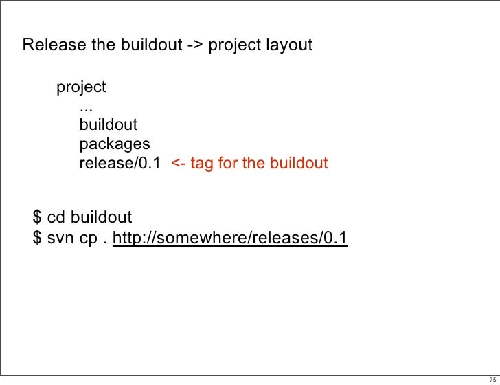 Release the buildout -> project layout      project        ...        buildout        packages        release/0.1 <- tag f...