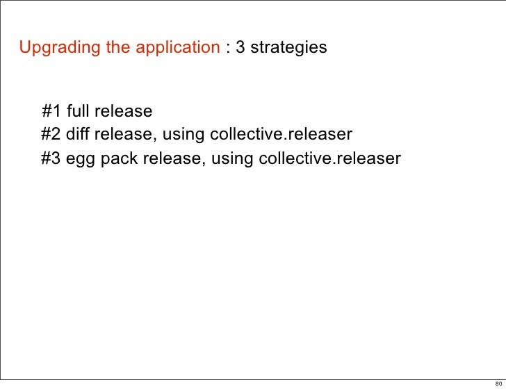 Upgrading the application : 3 strategies     #1 full release   #2 diff release, using collective.releaser   #3 egg pack re...