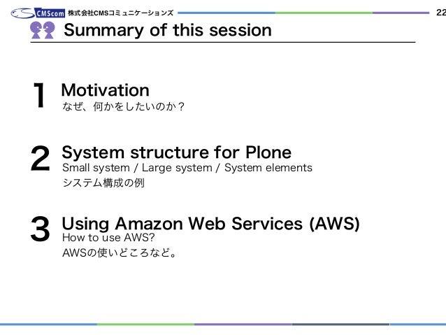 株式会社CMSコミュニケーションズ Small system / Large system / System elements システム構成の例 2 3 1 System structure for Plone Summary of this ...