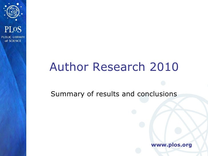 Summary of results and conclusions Author Research 2010