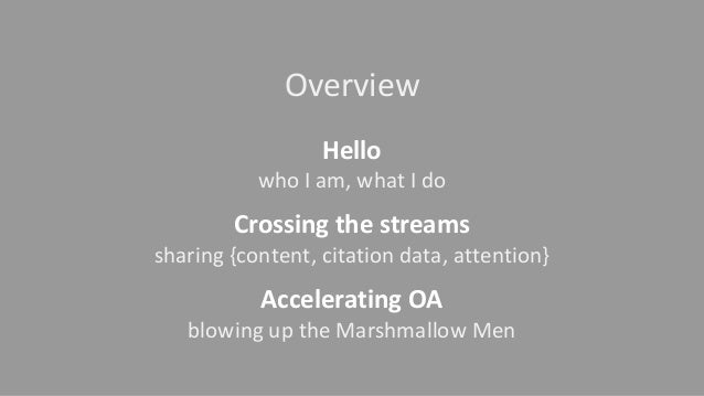 Overview Hello who I am, what I do Crossing the streams sharing {content, citation data, attention} Accelerating OA blowin...