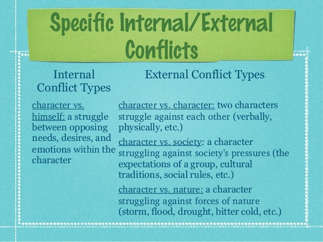 internal and external conflicts on macbeth The external conflict is with the king, and the internal conflict concerns the decision of the king's daughter the external conflict experienced by the unnamed young man is due to the king's disapproval of his love affair with the princess who is far above his station.