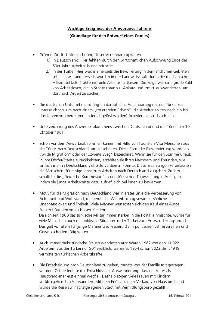 Wichtige Ereignisse des Anwerbeverfahrens                           (Grundlage für den Entwurf eines Comics)    •    Gründ...