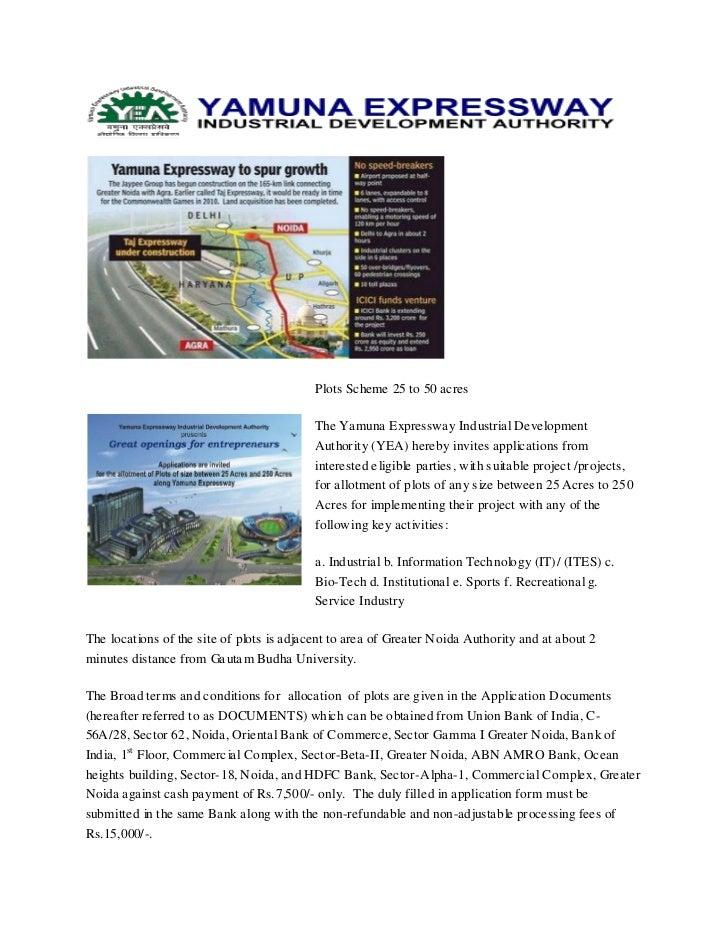 Plots Scheme 25 to 50 acres                                           The Yamuna Expressway Industrial Development        ...
