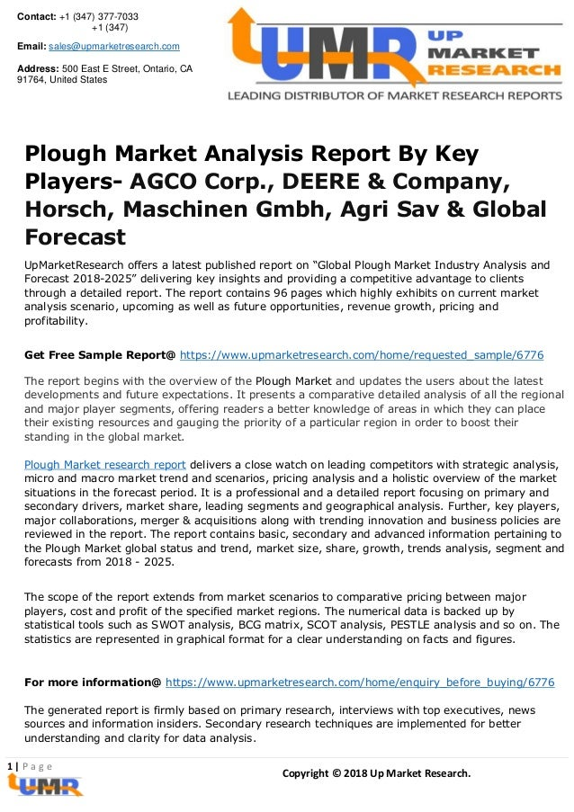 Plough Market Analysis Report By Key Players Agco Corp Deere Amp