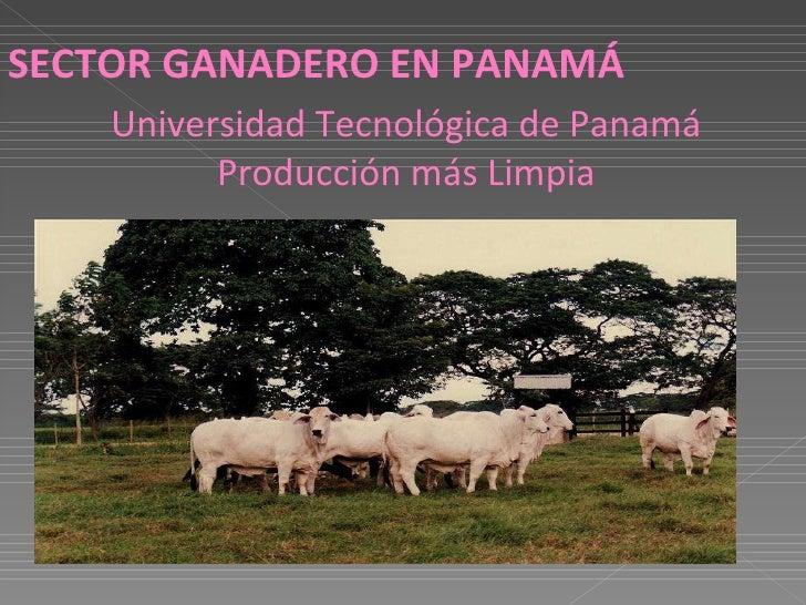 SECTOR GANADERO EN PANAMÁ Universidad Tecnológica de Panamá Producción más Limpia