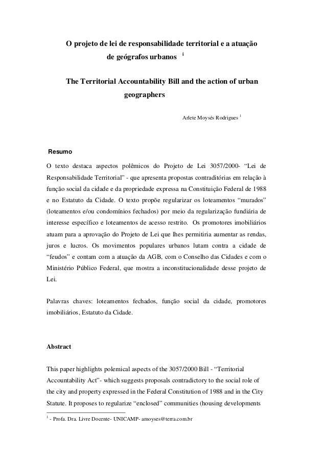 O projeto de lei de responsabilidade territorial e a atuação                                                         i    ...
