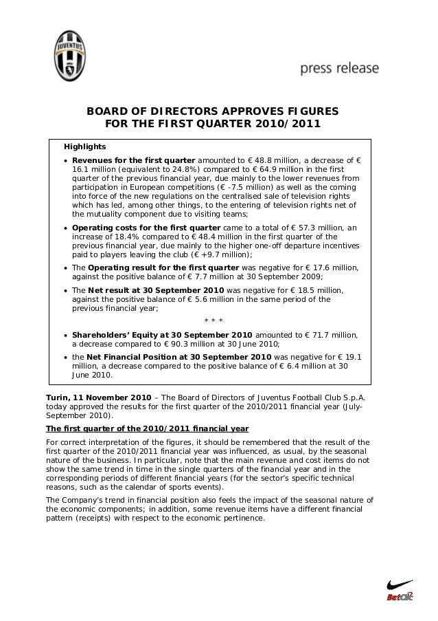 BOARD OF DIRECTORS APPROVES FIGURES FOR THE FIRST QUARTER 2010/2011 Highlights • Revenues for the first quarter amounted t...