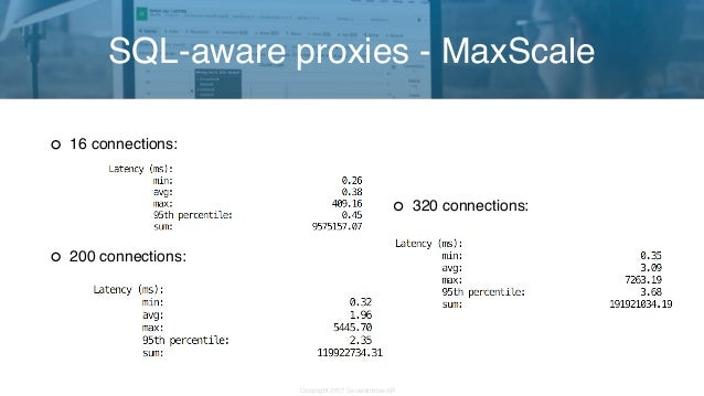 Copyright 2017 Severalnines AB 320 connections: SQL-aware proxies - MaxScale 16 connections: 200 connections: