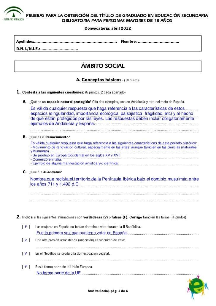 PRUEBAS PARA LA OBTENCIÓN DEL TÍTULO DE GRADUADO EN EDUCACIÓN SECUNDARIA                       OBLIGATORIA PARA PERSONAS M...