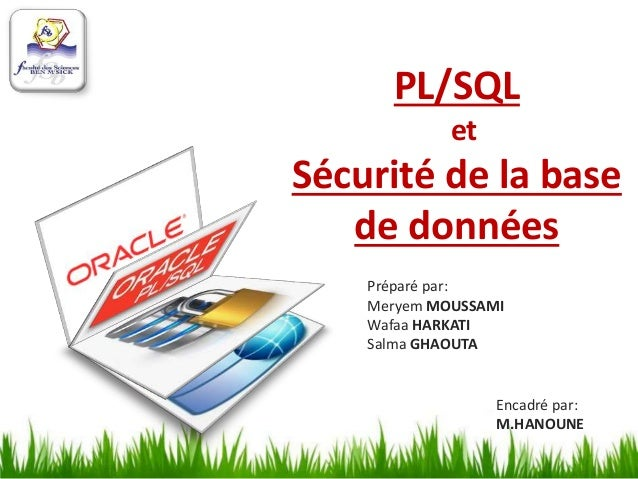 PL/SQL et Sécurité de la base de données Préparé par: Meryem MOUSSAMI Wafaa HARKATI Salma GHAOUTA Encadré par: M.HANOUNE