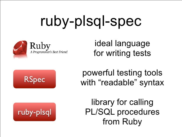 ruby-plsql-spec                ideal language                for writing tests             powerful testing tools RSpec   ...
