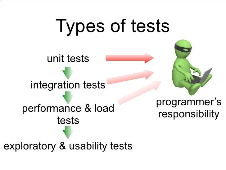 Types of tests         unit tests      integration tests                                programmer's    performance & load...
