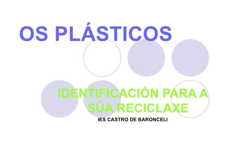 OS PLÁSTICOS IDENTIFICACIÓN PARA A  SÚA RECICLAXE IES CASTRO DE BARONCELI