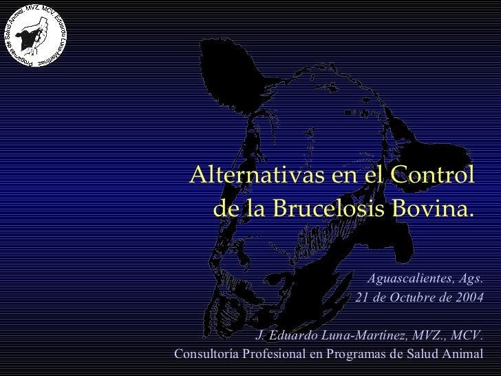 Alternativas en el Control  de la Brucelosis Bovina. Aguascalientes, Ags. 21 de Octubre de 2004 J. Eduardo Luna-Martínez, ...