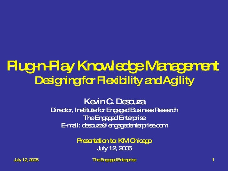 Plug-n-Play Knowledge Management  Designing for Flexibility and Agility Kevin C. Desouza Director, Institute for Engaged B...