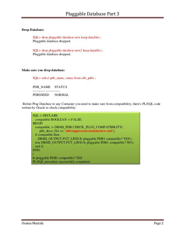 Pluggable database 3 Slide 2
