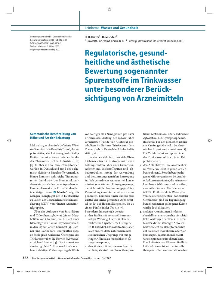 Leitthema: Wasser und Gesundheit      Bundesgesundheitsbl - Gesundheitsforsch -        H. H. Dieter1 · H. Mückter2     Ges...