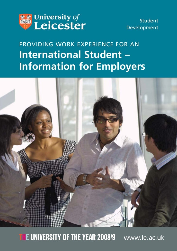 Student                            DevelopmentPROVIDING WORK EXPERIENCE FOR ANInternational Student –Information for Emplo...