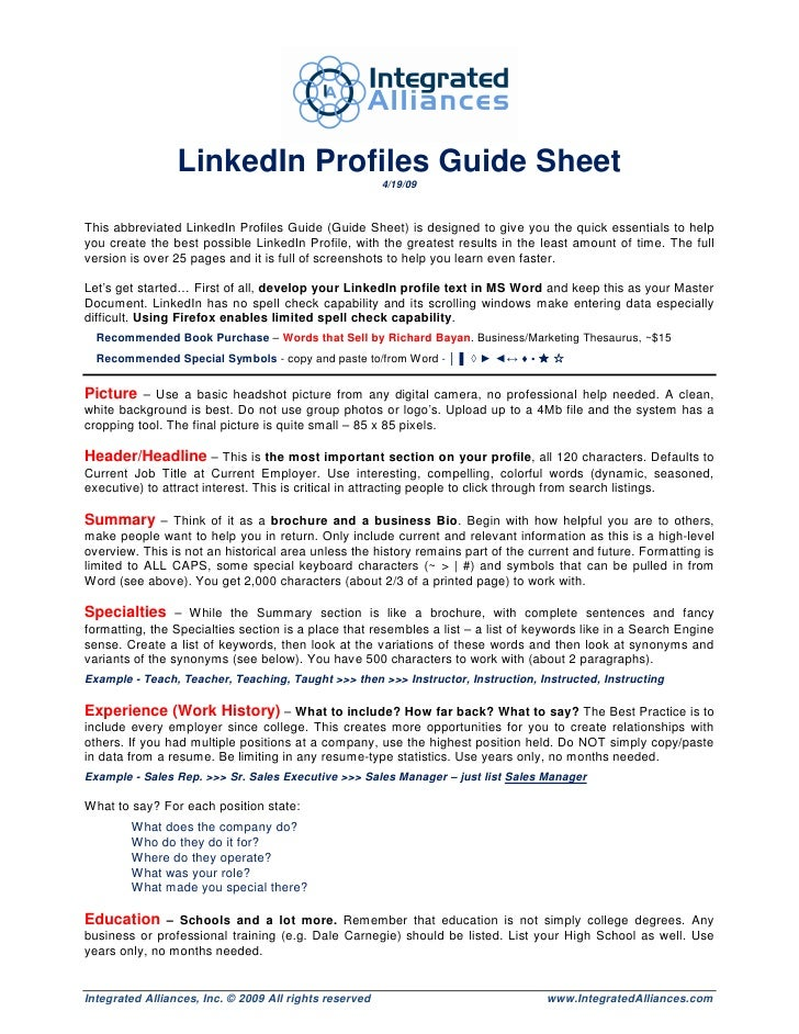 LinkedIn Profiles Guide Sheet                                                         4/19/09    This abbreviated LinkedIn...