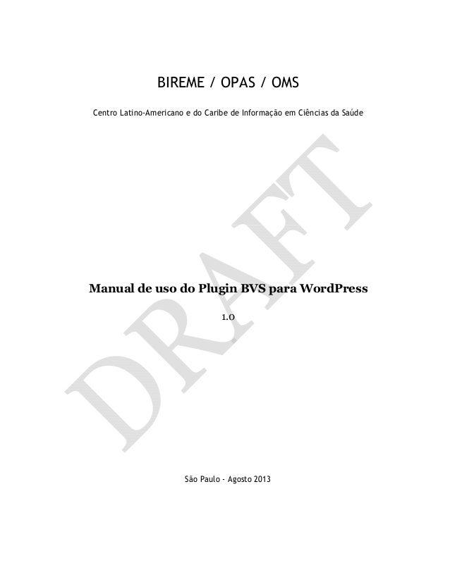 Manual de uso do Plugin BVS para WordPress [DRAFT]