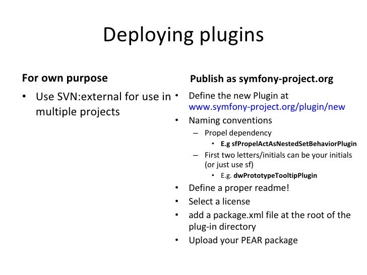 Deploying plugins <ul><li>For own purpose </li></ul><ul><li>Use SVN:external for use in multiple projects </li></ul><ul><l...