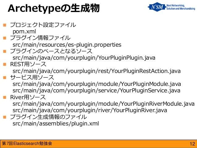 第7回Elasticsearch勉強会  プロジェクト設定ファイル pom.xml  プラグイン情報ファイル src/main/resources/es-plugin.properties  プラグインのベースとなるソース src/mai...