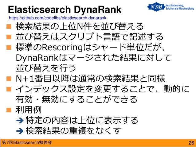 第7回Elasticsearch勉強会  検索結果の上位N件を並び替える  並び替えはスクリプト言語で記述する  標準のRescoringはシャード単位だが、 DynaRankはマージされた結果に対して 並び替えを行う  N+1番目以降...