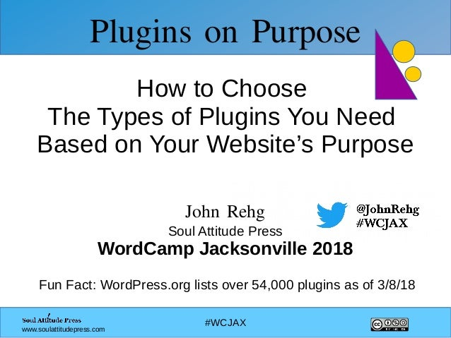 #WCJAX www.soulattitudepress.com Plugins on Purpose How to Choose The Types of Plugins You Need Based on Your Website's Pu...