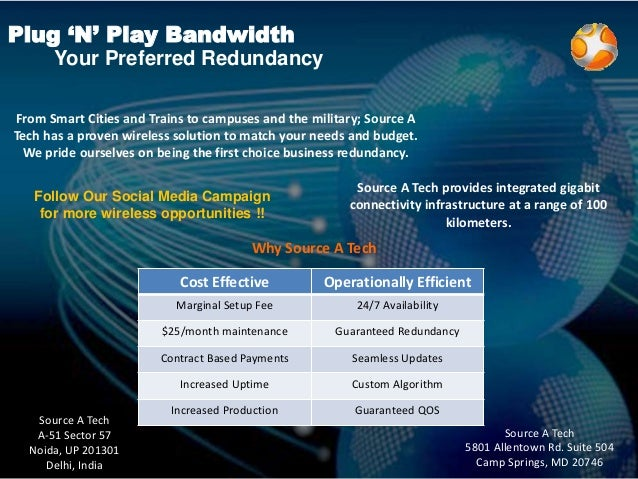 Plug 'N' Play Bandwidth Your Preferred Redundancy Source A Tech provides integrated gigabit connectivity infrastructure at...
