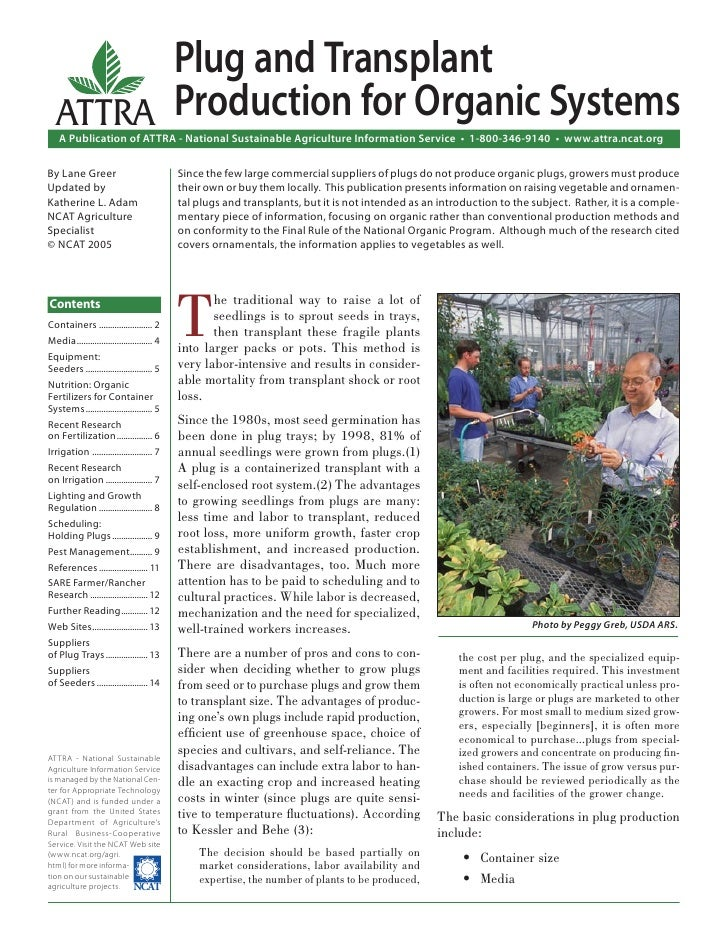 Plug and Transplant   ATTRA Production for Organic Systems    A Publication of ATTRA - National Sustainable Agriculture In...