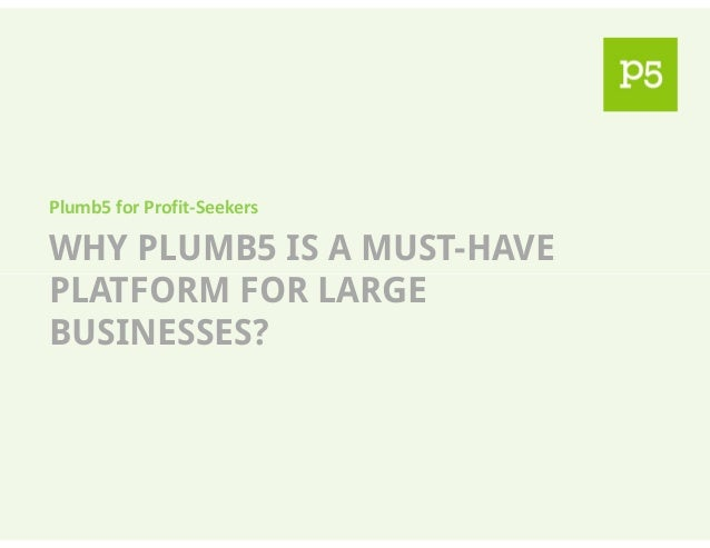 Plumb5 for Profit-Seekers WHY PLUMB5 IS A MUST-HAVE PLATFORM FOR LARGEPLATFORM FOR LARGE BUSINESSES?