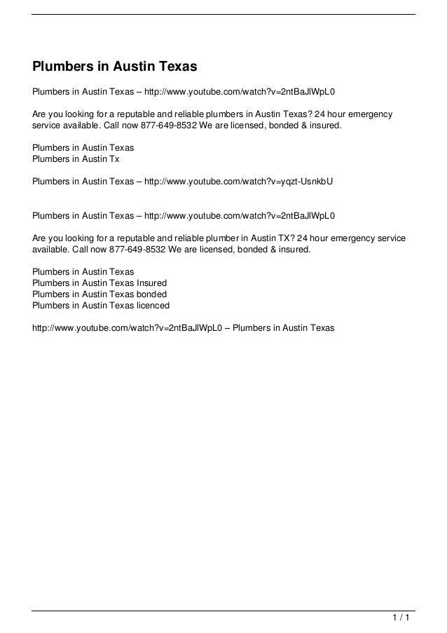 Plumbers in Austin Texas                                   Plumbers in Austin Texas – http://www.youtube.com/watch?v=2ntBa...