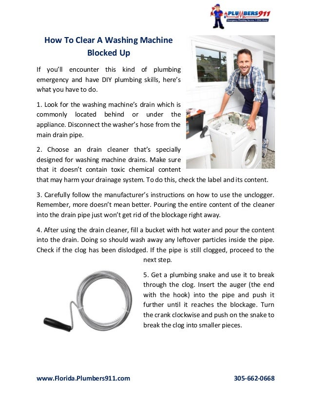 unclogging a washing machine drain pipe