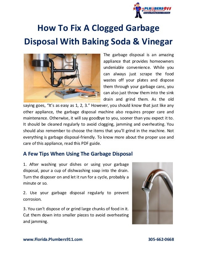 How To Fix A Clogged Garbage Disposal With Baking Soda