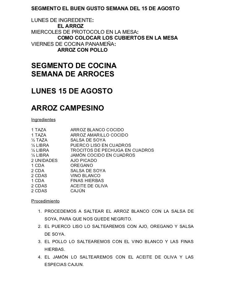 SEGMENTO EL BUEN GUSTO SEMANA DEL 15 DE AGOSTOLUNES DE INGREDENTE:         EL ARROZMIERCOLES DE PROTOCOLO EN LA MESA:     ...