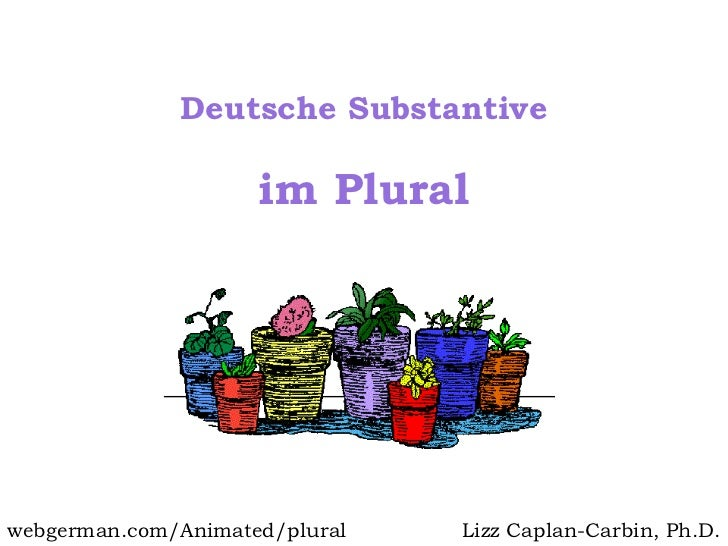im Plural Deutsche Substantive Lizz Caplan-Carbin, Ph.D. webgerman.com/Animated/plural
