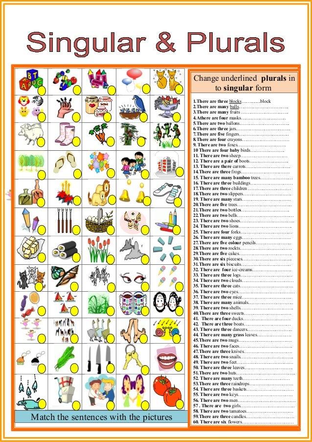 singular and plural words list pdf
