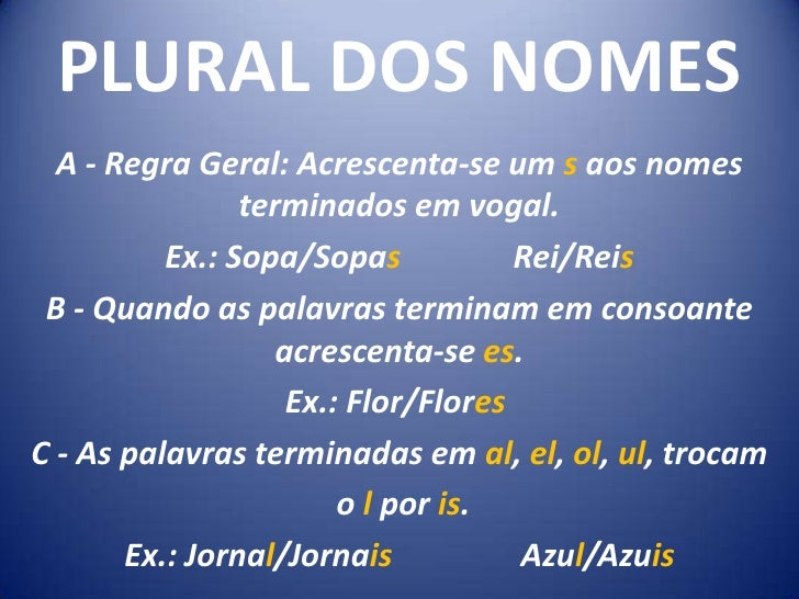 PLURAL DOS NOMES<br />A - Regra Geral: Acrescenta-se um s aos nomes terminados em vogal.<br />Ex.: Sopa/Sopas...