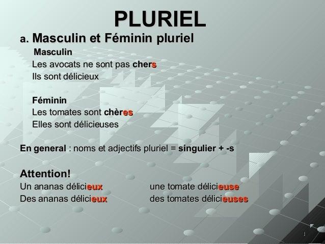 PLURIEL  a. Masculin et Féminin pluriel Masculin Les avocats ne sont pas chers Ils sont délicieux Féminin Les tomates sont...