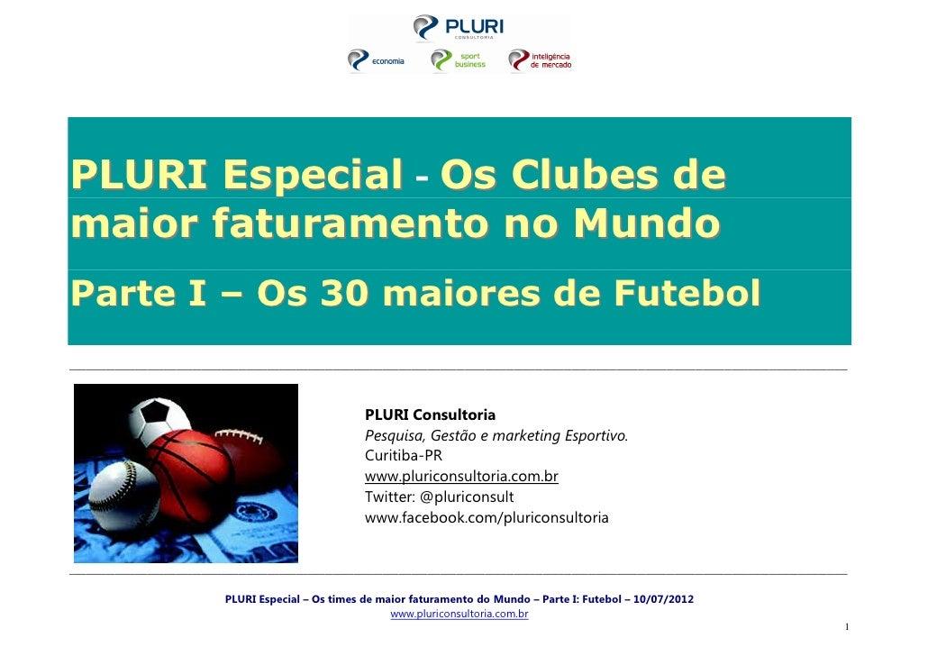 PLURI Especial - Os Clubes demaior faturamento no MundoParte I – Os 30 maiores de Futebol_________________________________...