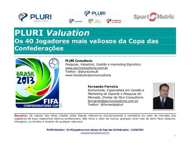 PLURI Valuation – Os 40 jogadores mais valiosos da Copa das Confederações – 11/06/2013www.pluriconsultoria.com.br1PLURI Va...